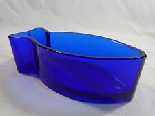 "COBALT BLUE Fish Shaped Bowl 8"" Heavy Glass"
