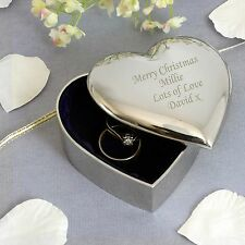 Personalised Silver Finish Heart Trinket -Engraved Free -Christmas, Graduation