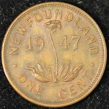 1947-C ALMOST UNCIRCULATED Newfoundland Small Cent, SCARCE IN AU!
