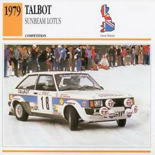 1979 TALBOT SUNBEAM LOTUS Racing Classic Car Photo/Info Maxi Card