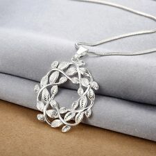 Women Jewelry 925 Sterling Silver Plated Hollow Leaf Crystal Pendant Necklace