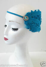 Teal Blue Feather Headpiece Great Gatsby Flapper 1920s Headband Vintage 1930 O97
