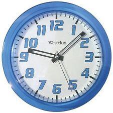 "Westclox Lt Blue 7.75"" Translucent Wall Clock Second Hand Battery-Operated"