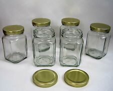 """Clear Glass Jar Square Gold Lids Victorian 190 ml over 6 oz 4"""" High Set of 6 NEW"""