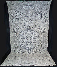 "ANTIQUE BRABANT OR MILANESE BOBBIN LACE FIGURAL TABLECLOTH BANQUET  146"" x  80"""