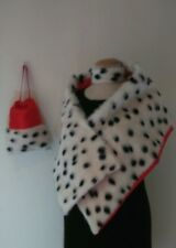 Cruella De Ville 101 Dalmatian Shawl Bag Chocker Set Unique Soft Fur Red lining