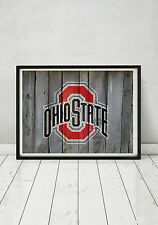 The Ohio State University Buckeyes Football Logo Print Poster Art Wood Sign Gift