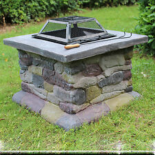 New Elegant Outdoor Patio Fire Pit with Iron Fire Bowl Stone Base Mesh Cover 25""