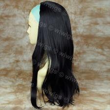 Wiwigs Black 3/4 Fall Long Straight Half Ladies Wig Hairpiece
