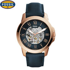 New Fossil  Blue Leather Strap Automatic Multi Dial Men's Watch ME3102