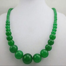 NEW 6-14mm natural green jade bead necklace 17.5 inches
