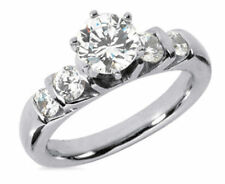 1.87 carat total 5 stone BAND Engagement ROUND DIAMOND Wedding RING SI1 clarity