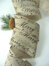 "Merry Christmas Vintage Black Script Linen Look  2 1/2 "" Wire Edge Ribbon 12 Yds"
