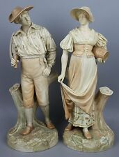 Antique 1885 Royal Worcester Hadley pair of figurines WorldWide