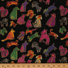 Dogs And Doggies Animal Black Puppy Metallic Cotton Fabric Print by Yard D474.07