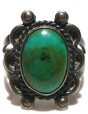 ANTIQUE OLD SOUTHWESTERN NAVAJO TURQUOISE STERLING SILVER ESTATE RING SIZE 5