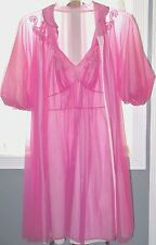 Lingerie Chiffon Vintage Gown Robe Nightgown S 32 Artemis Slip Nylon Pink Sheer