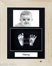 neuf Kit de Moulage bébé Cadeau Portrait Argent Main Pied Naturel Pin 3D Cadre
