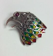 REAL STERLING SILVER Bird's Head Symbol Multi-Color Enamel Brooch PENDANT 8.7g