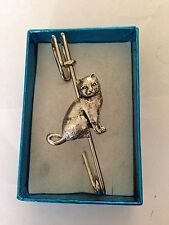 "British Short Hair Cat PP Pewter Emblem on a Kilt Pin Scarf or Brooch 3"" 7.5 cm"