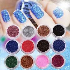 12 Colors Nail Art Glitter Powder Dust For UV GEL Acrylic Powder Decoration Tips
