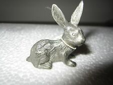 """Solid Fine Pewter Rabbit Made In Korea 1.5"""" tall"""