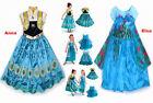 Frozen Fever Costume Elsa Anna Princess Queen New Cosplay Fancy Party Dress 3-8Y