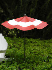 Miniature FAIRY GARDEN Accessories ~ Red & White Striped Beach Umbrella NEW