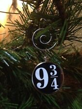 "Harry Potter Saying doublesided Silver Ornament ""9 3/4"" Black Background"