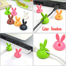 6Pcs Car Windshield Rabbit Ear Cables Holder Wires Clip Sticky Desk Accessories