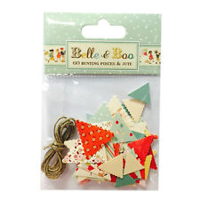 BELLE & BOO 60 MINI BUNTING PIECES & JUTE TWINE CARD MAKING CRAFT EMBELLISHMENTS