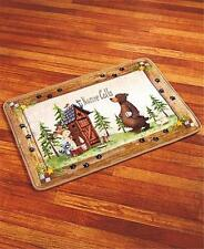 NATURE CALLS OUTHOUSE BEAR MOOSE RUSTIC CABIN BATHROOM RUG NONSLIP BACKING