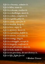MOTHER THERESA LIFE INSPIRATIONAL MOTIVATIONAL POSTER