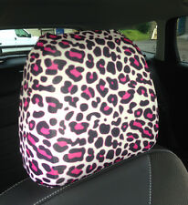 PINK LEOPARD PRINT DESIGN CAR SEAT HEAD REST COVERS PACK OF 2 MADE IN YORKSHIRE