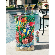 Colorful TROPICAL OCEAN CORAL REEF FISH  SHELL GLASS TOP COCKTAIL BAR TABLE Pool