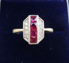 Stunning 18ct white gold art deco 1ct ruby and diamond ring