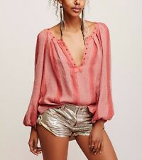 3190 New Free People Against All Odds Striped Printed Peach Blouse Tunic Top XS