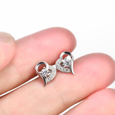 Glamour CZ Crystal Diamante Love Heart Ear Stud Earrings 925 Sterling Silver