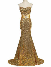 Sequined Sequins Beaded Mermaid Strapless Sleeveless Evening Dress Party Prom