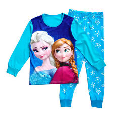 Baby Girls Kids Cotton Frozen Elsa Anna Pyjamas Sleepwear Pajamas T-Shirt+Pants
