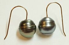 Baroque 11mm gray black Tahitian pearl solid 14k gold hook dangle earrings