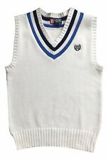 Chap's Boy's Size 5 White V-Neck Sweater Vest Cable Knit Top NEW $40