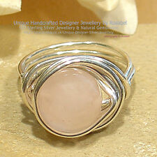 FANTASTIC ROSE QUARTZ 925 SILVER RING - SIZE  O - 7  ~All Sizes