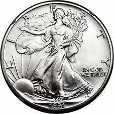 1991 ASE AMERICAN SILVER EAGLE NGC MS70, STUNNING COIN! KEY DATE!