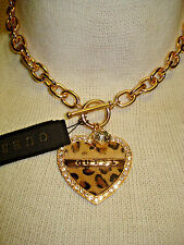 NWT GUESS CALF HAIR HEART LEOPARD PRINT CHUNKY CHOKER/NECKLACE TOGGLE CLASP