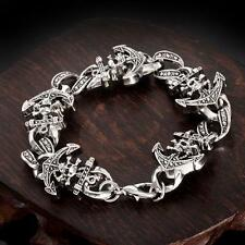 COOL HQ Stainless Steel Jewelry Pirate Skull Chain Bracelet 8 inch Gift