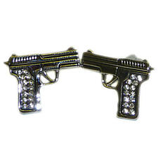 Silver & Crystal Pistol Cufflinks With Gift Pouch Gun Shooting Gangster New
