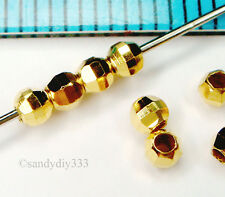 20x REAL 18K GOLD PLATED STERLING SILVER DISCO LASER CUT ROUND BEAD 2.5mm G150