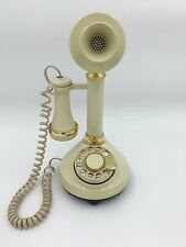 1973 Ivory Gold Candlestick Rotary Dial American Telecommunications Phone Works