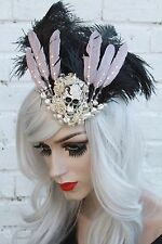SKULL GEM FEATHER INDUSTRIAL TEARDROP FASCINATOR HAT ALT STEAMPUNK CYBER